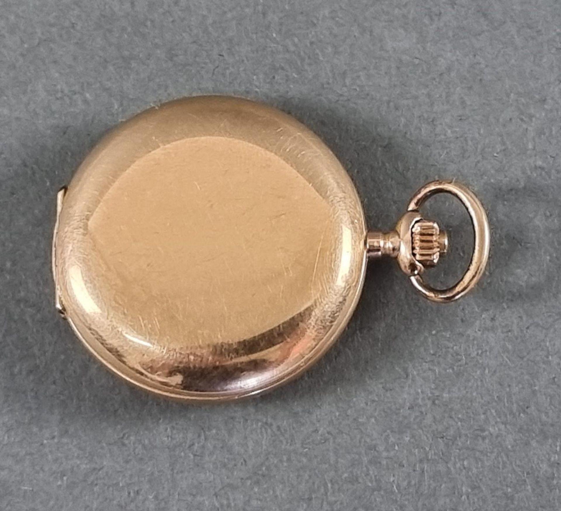 Goldene Damentaschenuhr, 14 Karat Gelbgold - Bild 7 aus 7