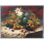 Stillleben-Früchte, Blumen