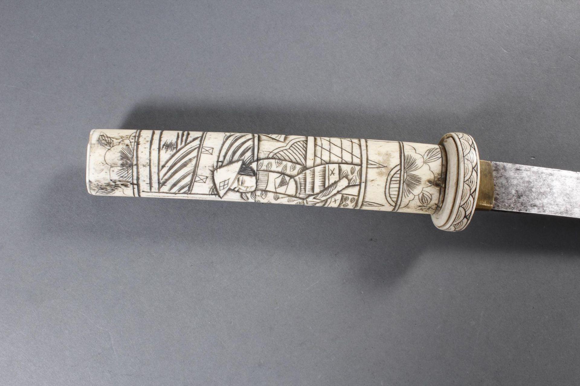 Kurzschwert aus Hirschhorn, Japan Meiji Periode - Bild 7 aus 12