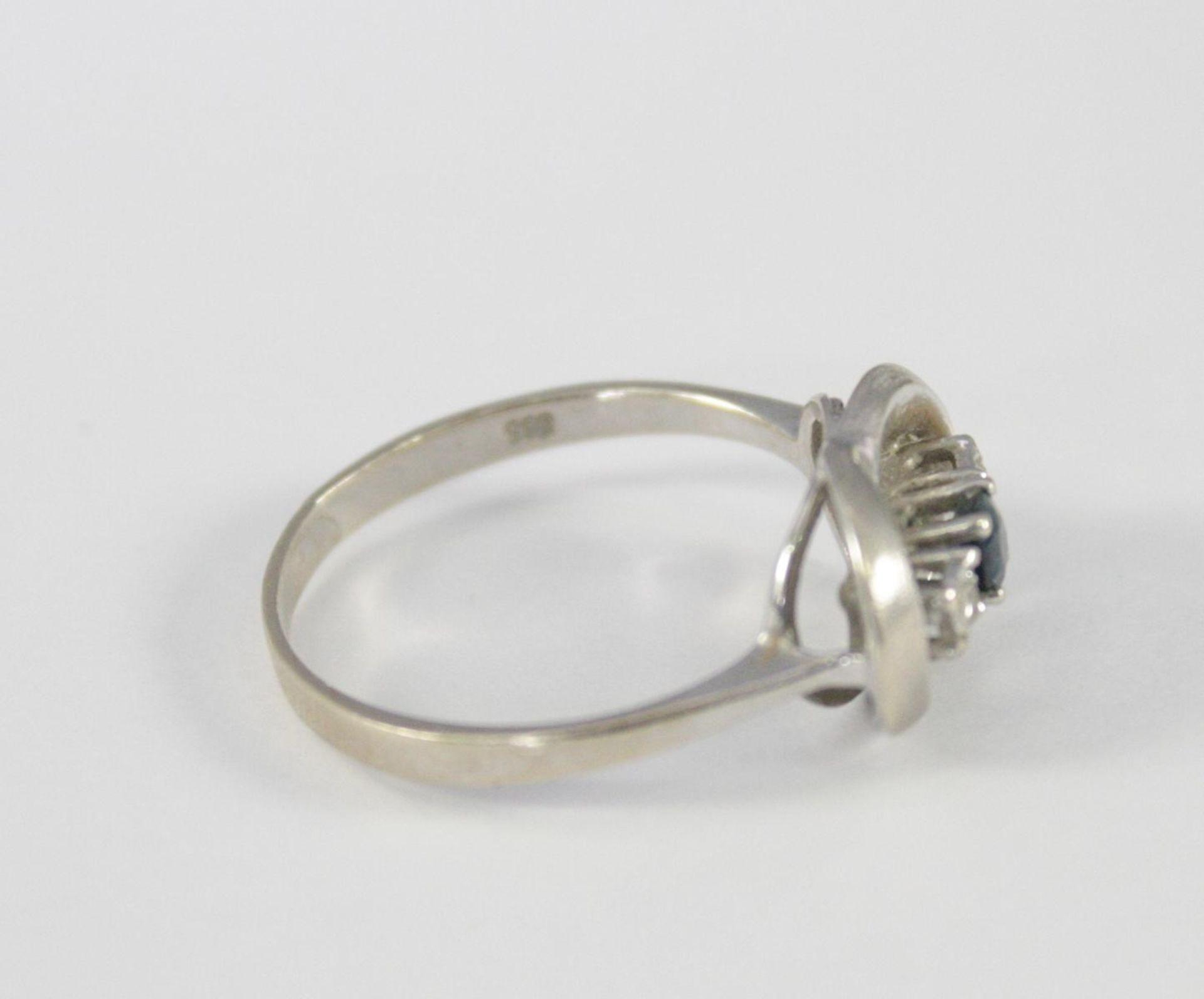 Damenring mit Saphir und Diamanten, 14 Karat Weißgold - Bild 2 aus 3