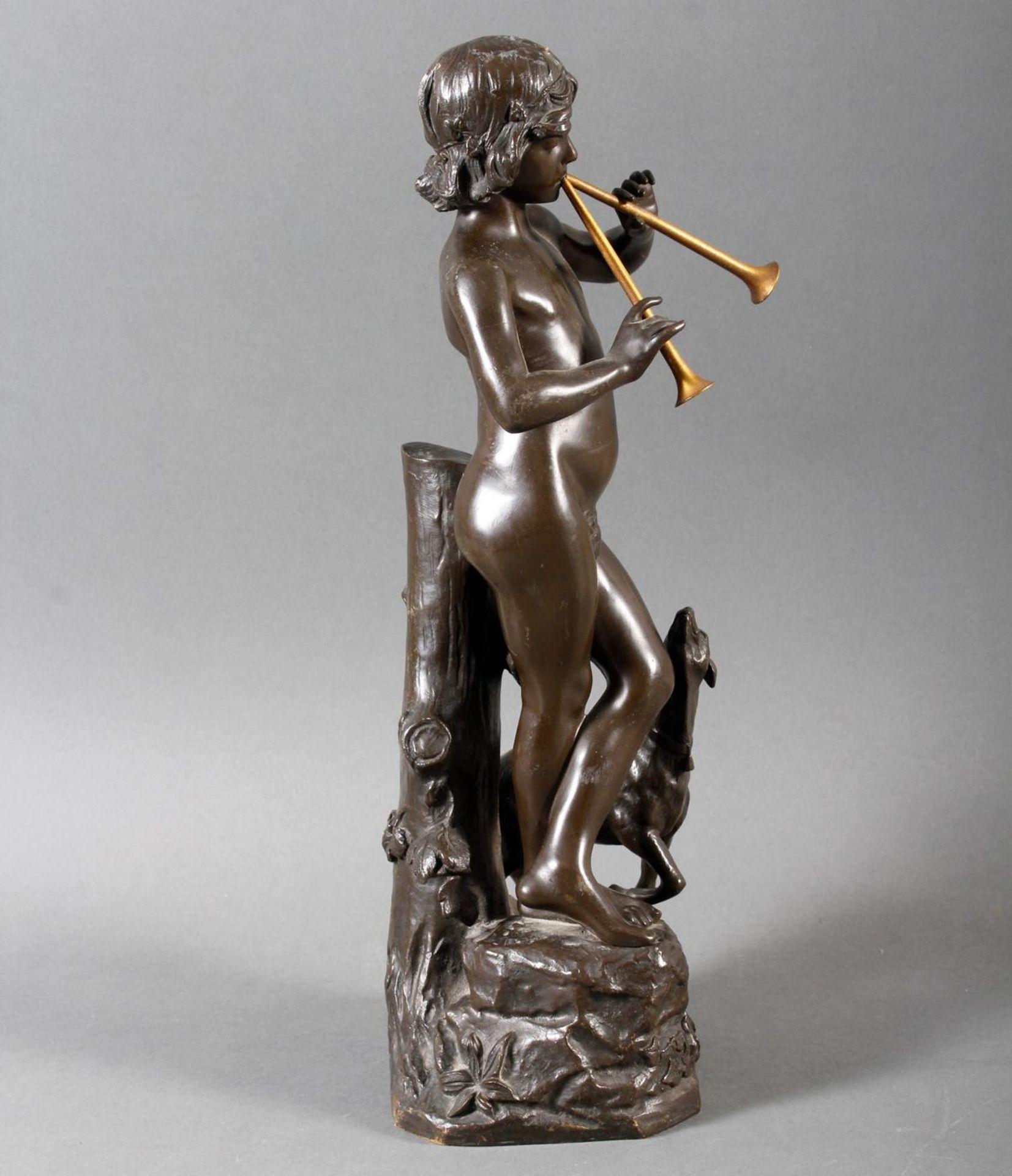 """Jugendstil Bronze """"Idylle"""" Frankreich um 1900 .Akt eines Flötenspielenden Hirtenjungen mit Ziege - Bild 2 aus 7"""