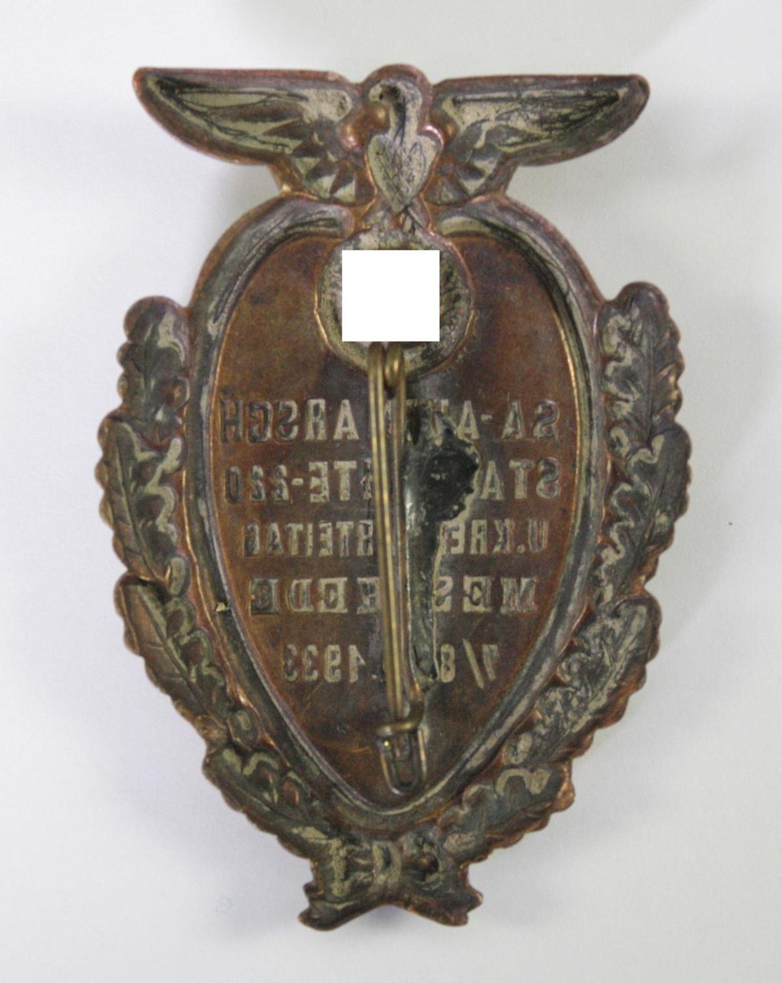 Abzeichen, SA-Aufmarsch Standarte 220 Meschede 1933 - Bild 2 aus 2