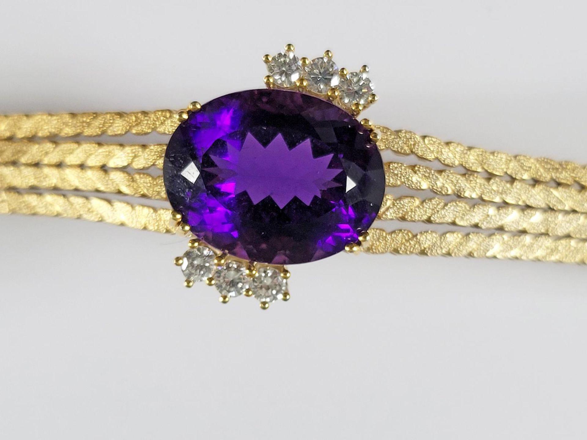 Damenarmband mit großem, facettierten Amethyst und Diamanten, 14 Karat Gelbgold - Bild 2 aus 7