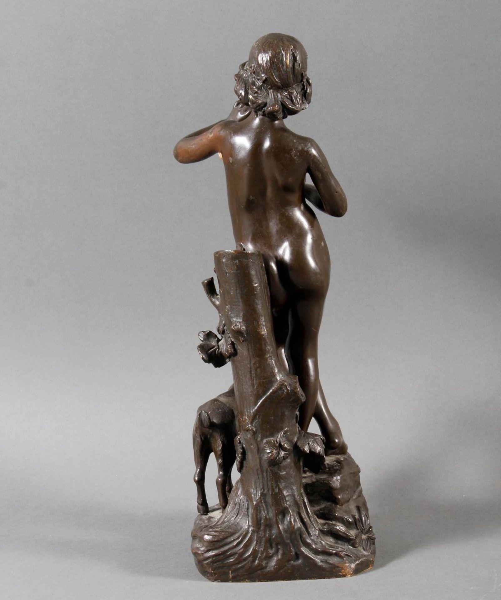 """Jugendstil Bronze """"Idylle"""" Frankreich um 1900 .Akt eines Flötenspielenden Hirtenjungen mit Ziege - Bild 3 aus 7"""