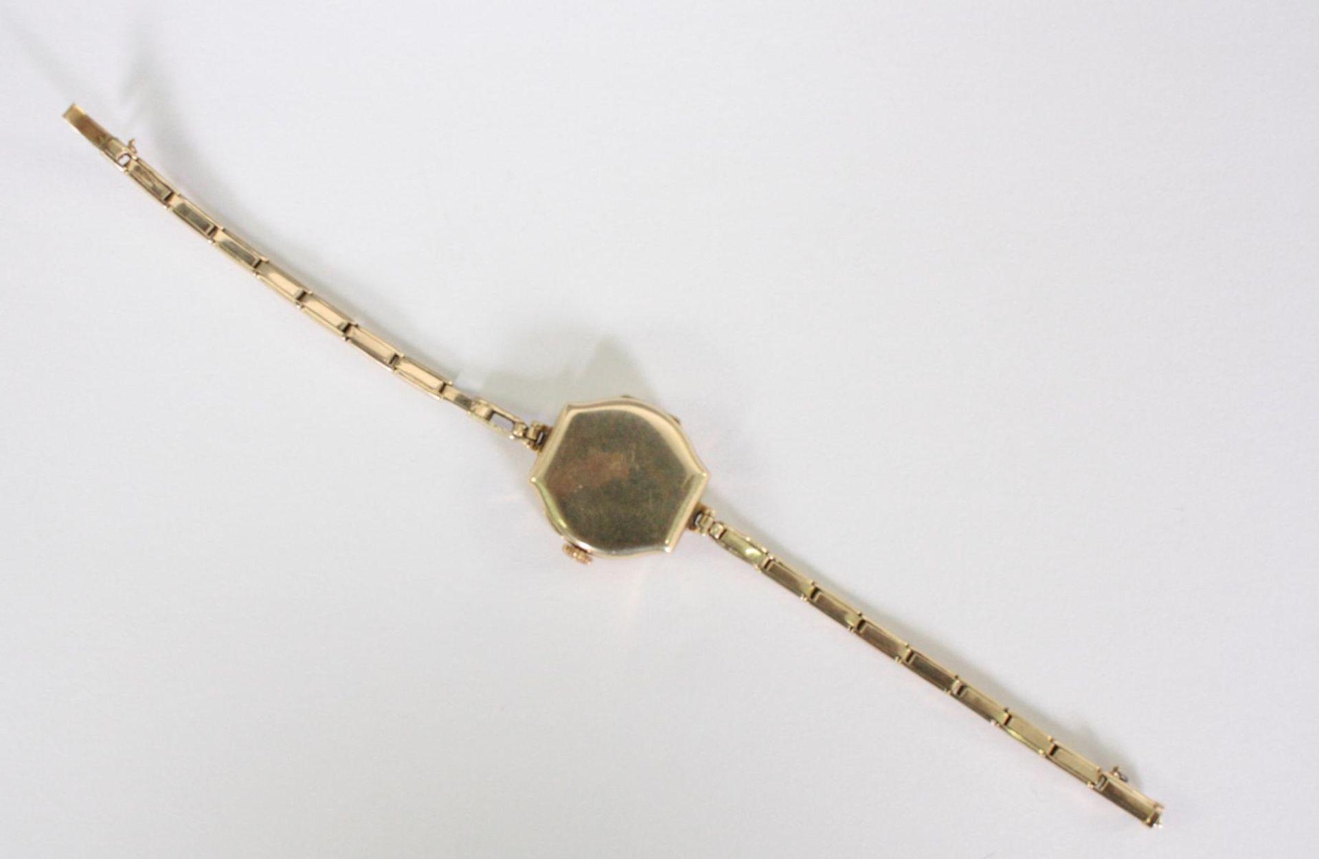 Antike Damenarmbanduhr, 14 Karat Gelbgold - Bild 3 aus 5