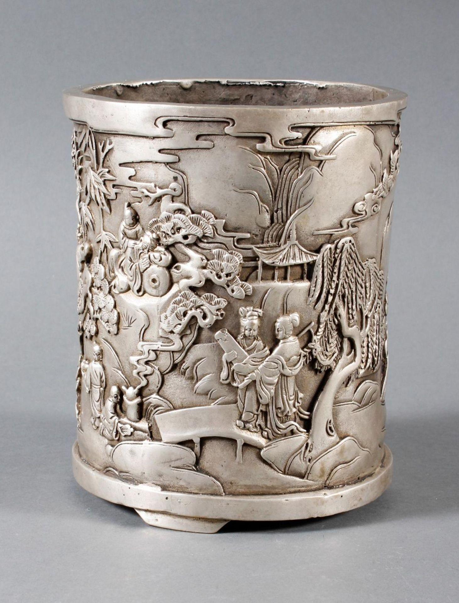 Pinselbecher aus verzinnter Bronze, China 1 Hälfte 20. Jahrhundert - Bild 3 aus 7