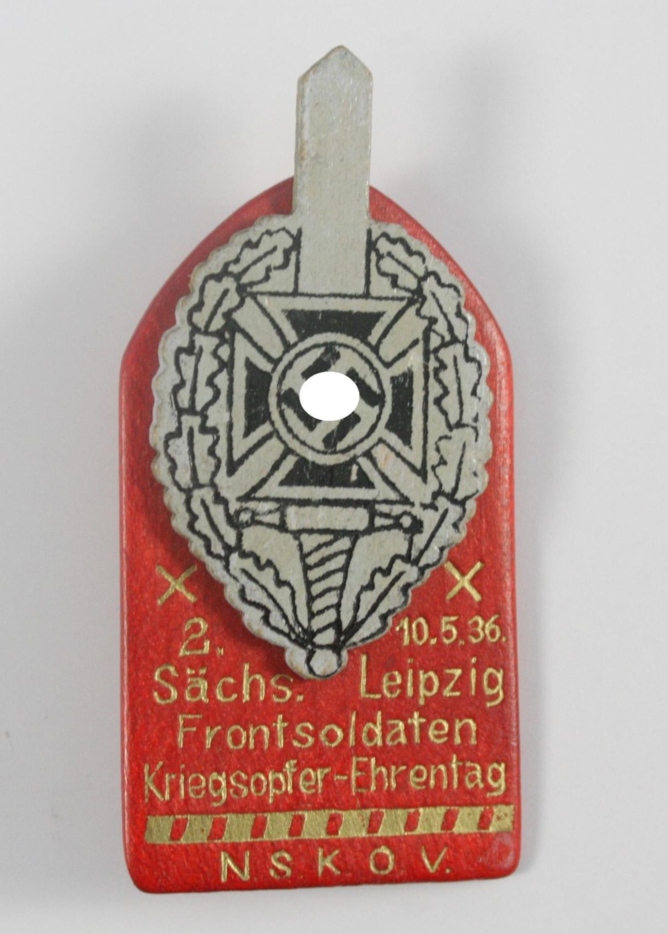 Holzabzeichen, 2. sächsischer Frontsoldaten Kriegsopfer Ehrentag 1936, NSKOV