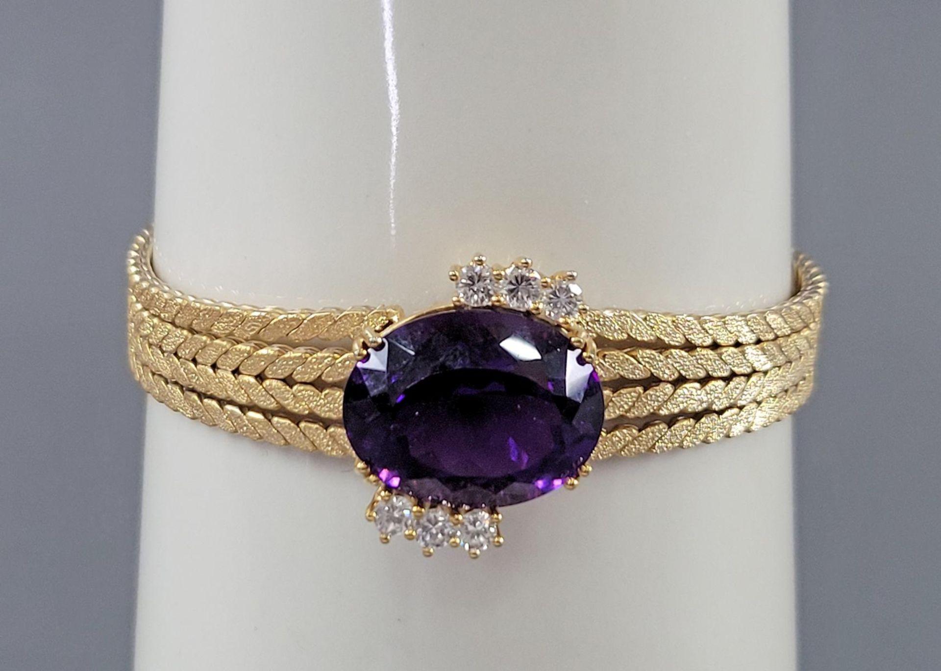 Damenarmband mit großem, facettierten Amethyst und Diamanten, 14 Karat Gelbgold - Bild 6 aus 7