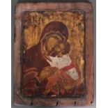 Russische Ikone, Gottesmutter Eleusa, 18. Jahrhundert