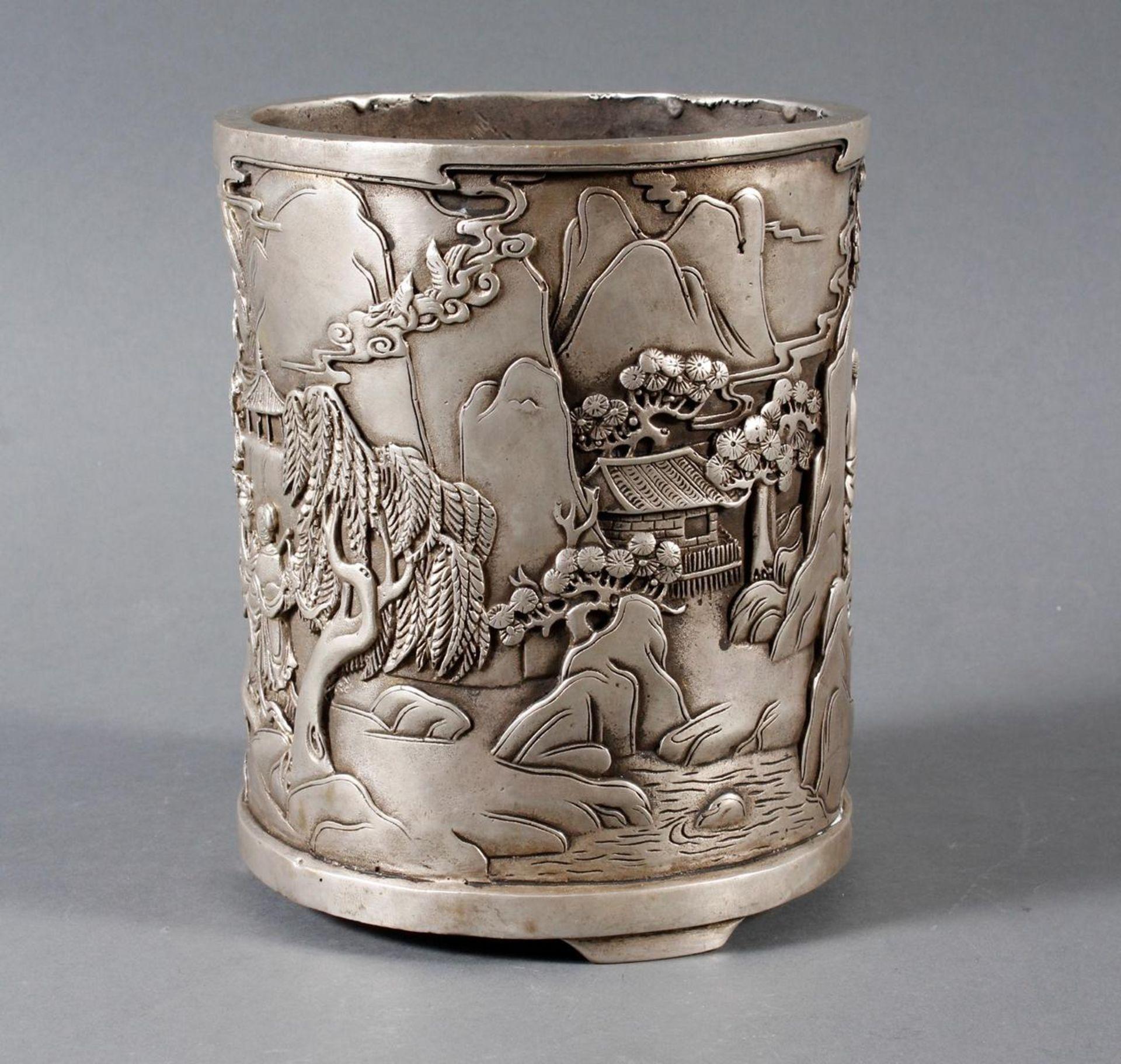 Pinselbecher aus verzinnter Bronze, China 1 Hälfte 20. Jahrhundert