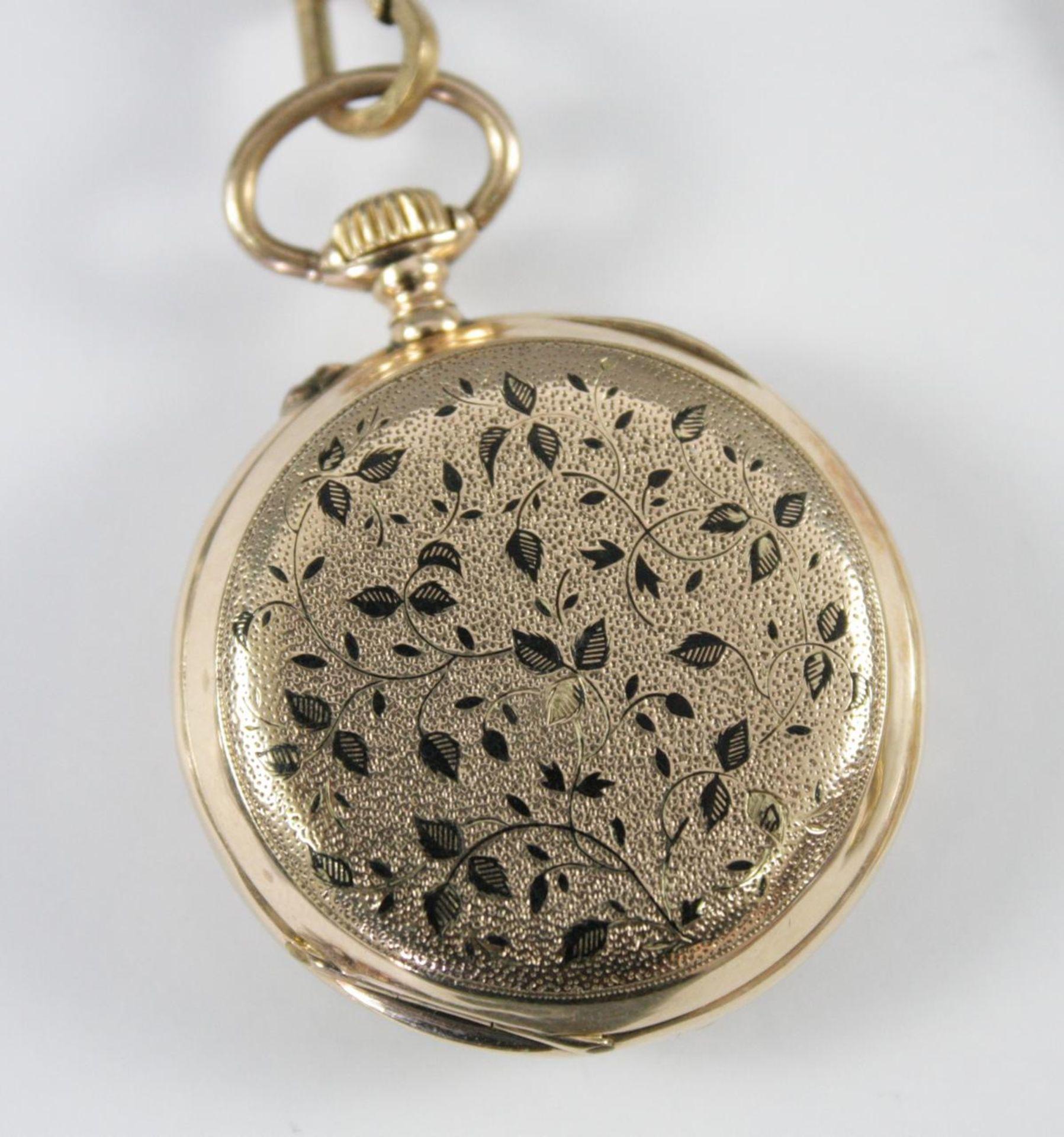 Goldene Damentaschenuhr, 14 Karat Gelbgold - Bild 3 aus 6
