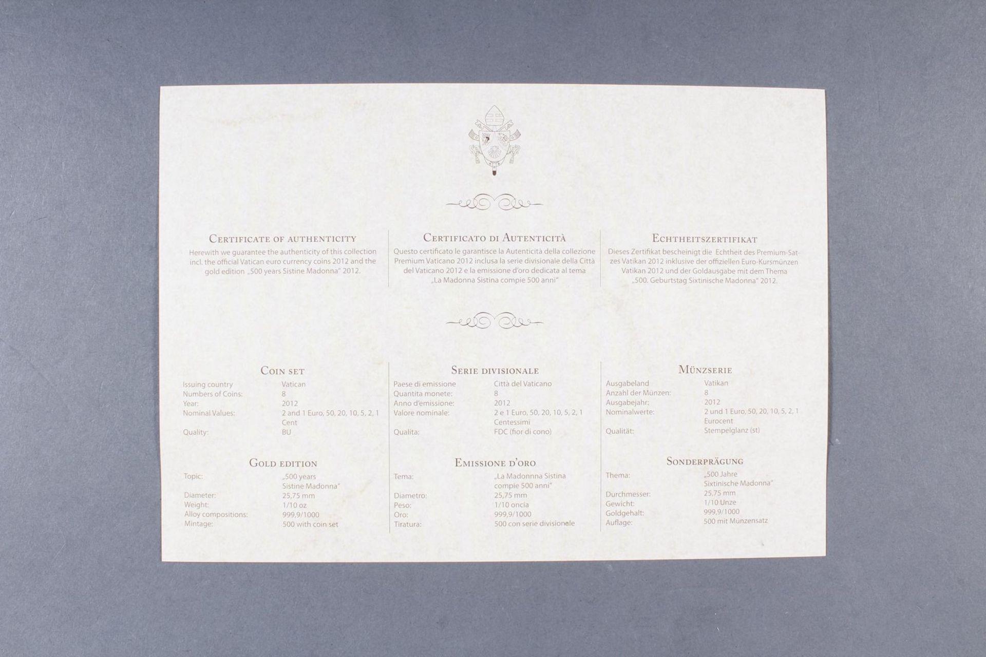 Vatikan Premium KMS (Kursmünzensatz) 2012 mit 1/10 Unze Goldmedaille - Bild 4 aus 4