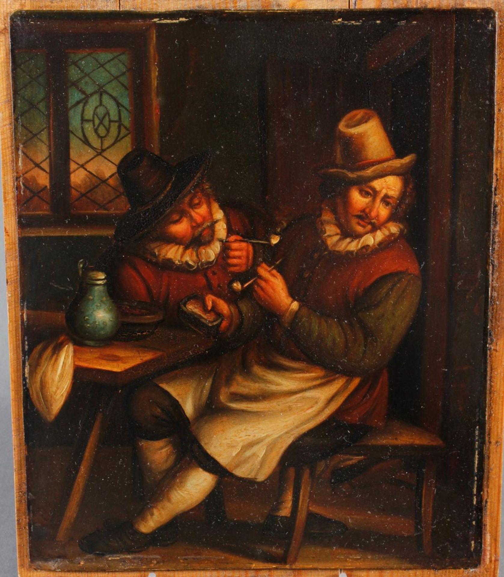 """Ölgemälde, wohl Holland 18. Jahrhundert, """"Die Raucher in der guten Stube - Bild 2 aus 5"""