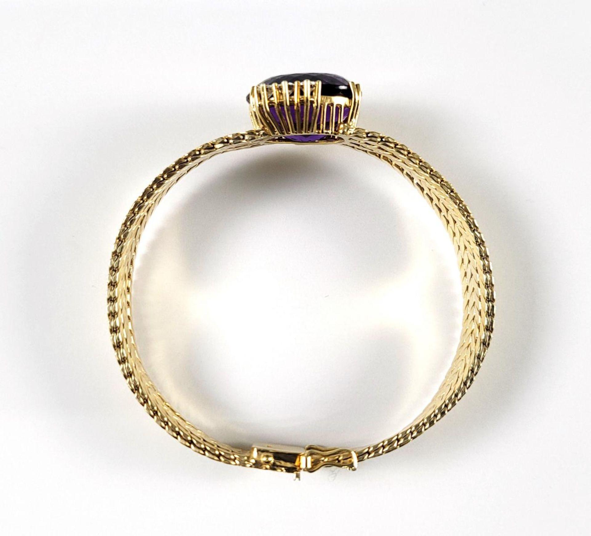Damenarmband mit großem, facettierten Amethyst und Diamanten, 14 Karat Gelbgold - Bild 4 aus 7