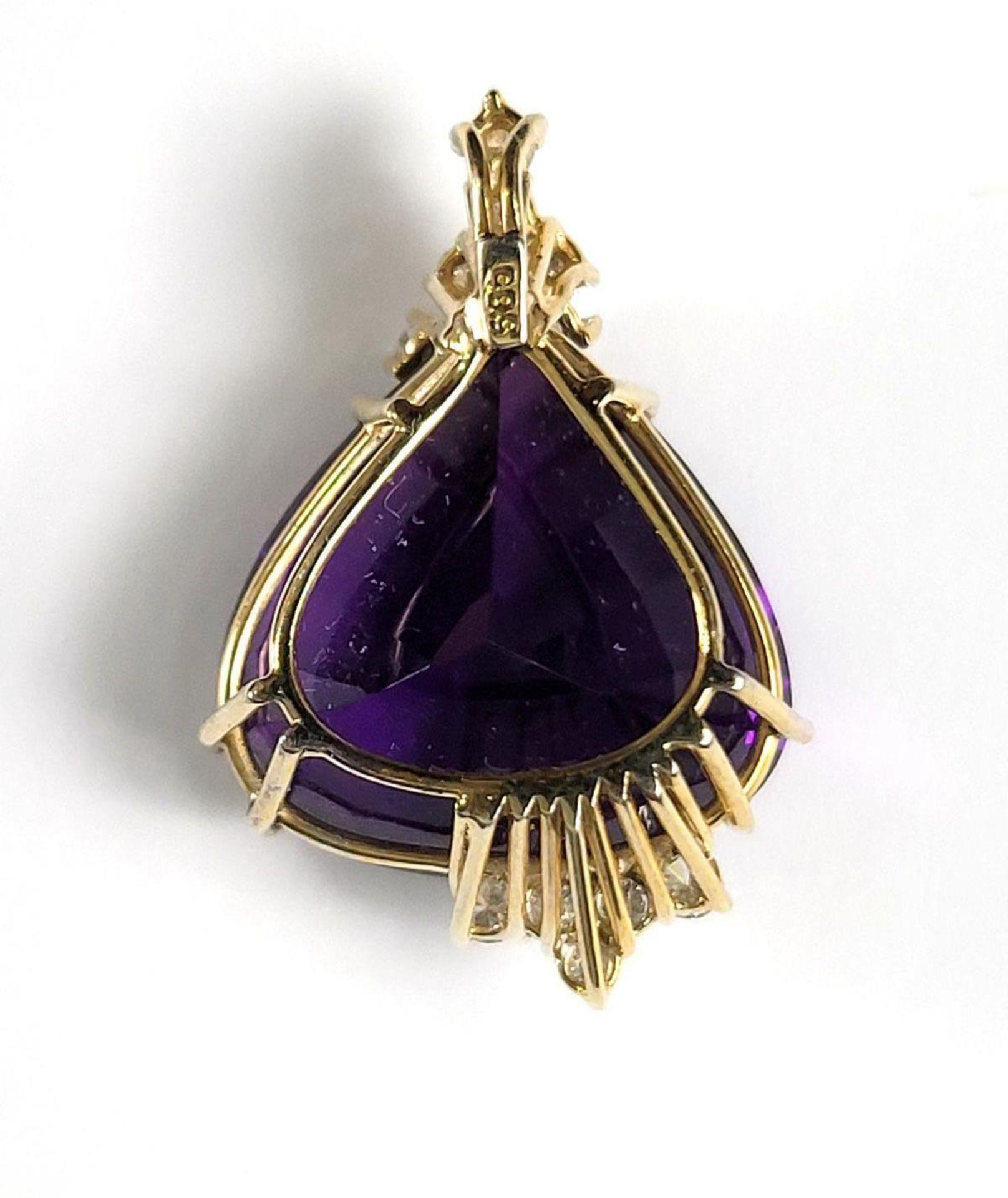 Anhänger mit Amethyst in Herzform mit Diamanten, 14 Karat Gelbgoldfassung - Bild 3 aus 3