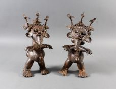 Paar Bronze-Hofzwergenpaar, Bamileke / Kamerun