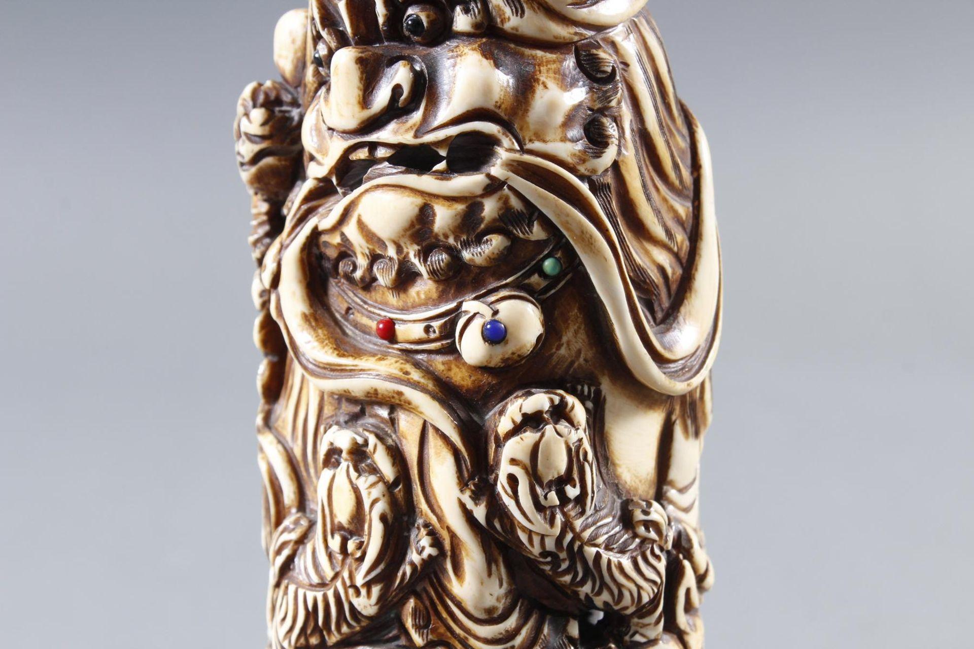 Elfenbeinschnitzerei, Foo-Hund mit Jungen, China 19. Jahrhundert - Bild 7 aus 11