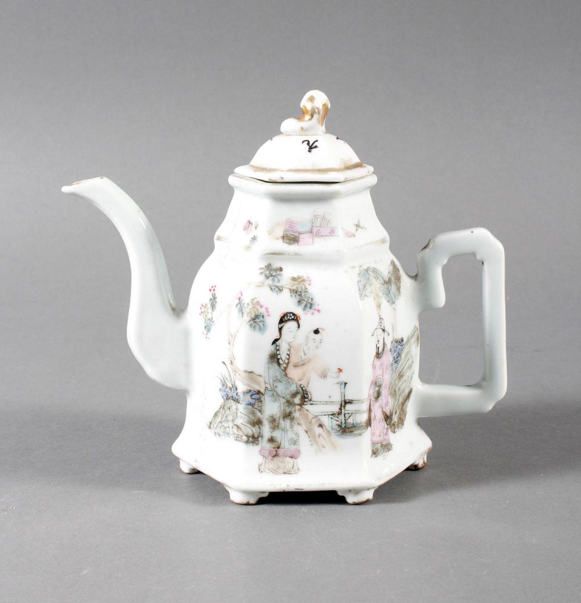 Porzellan Teekann, China, 19. Jahrhundert