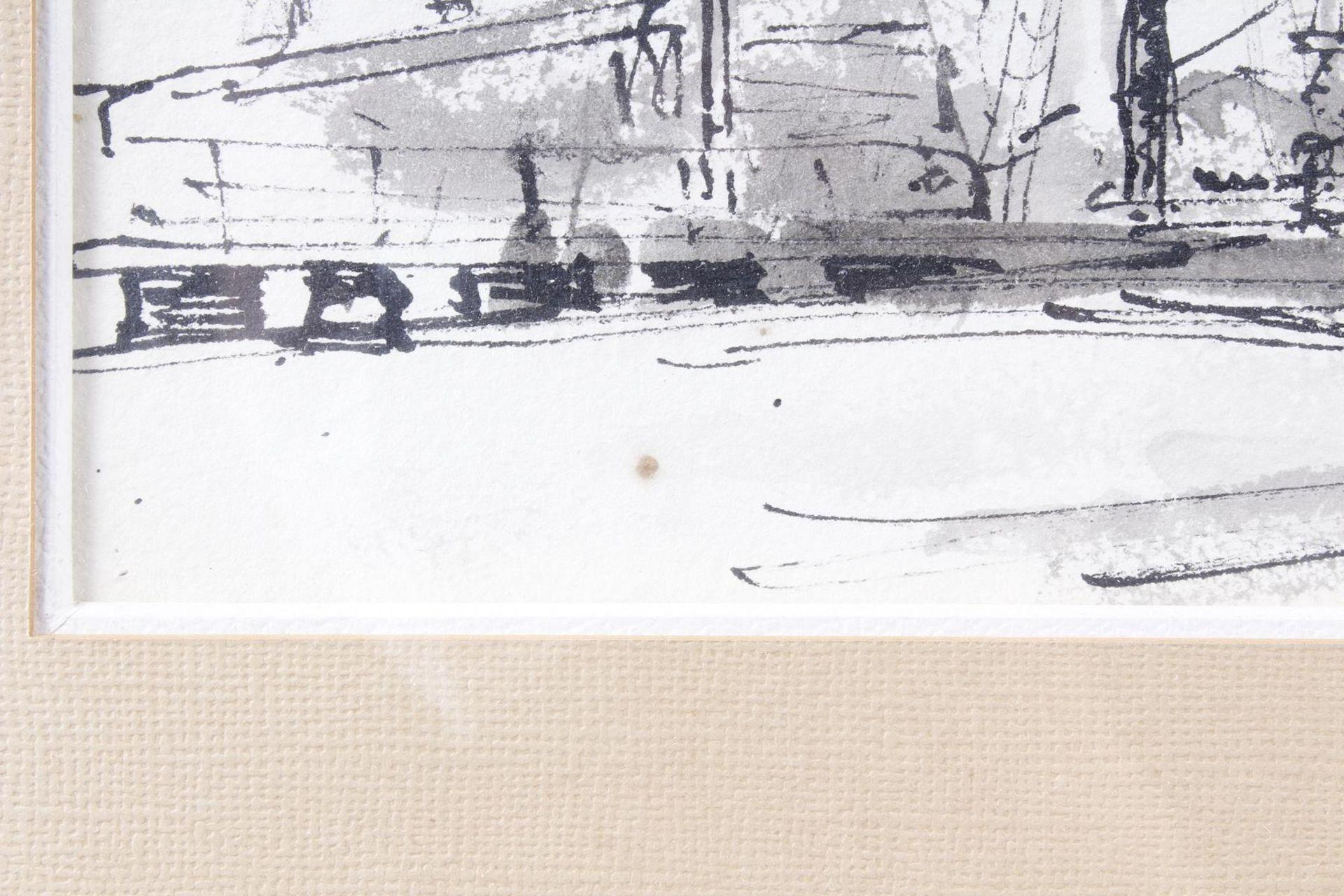 Aquarell, Hafenansicht mit Schiffen, Wilmmers 1950 - Bild 4 aus 5