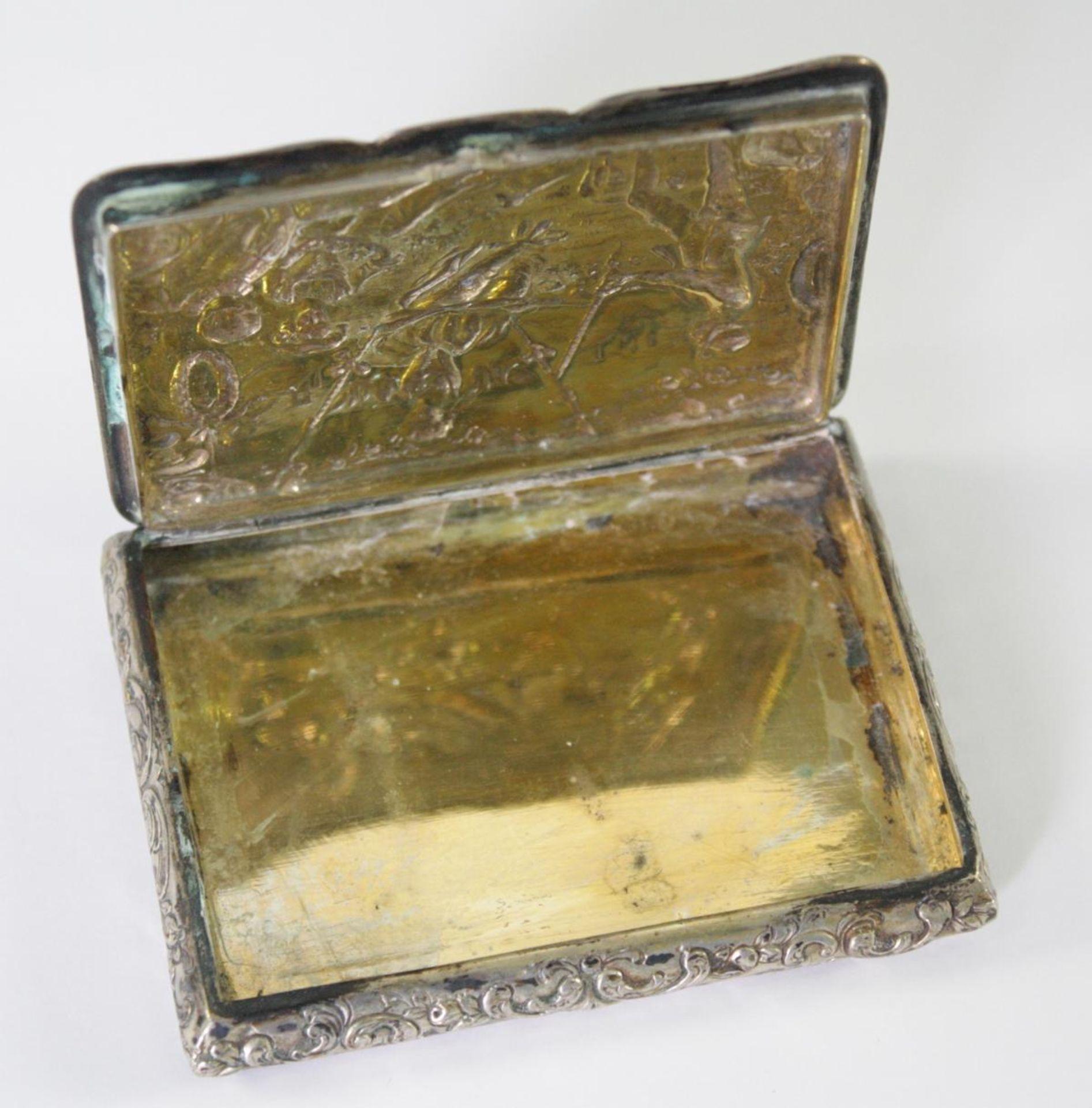 Silberne Deckeldose 800er Silber um 1900 - Bild 3 aus 4