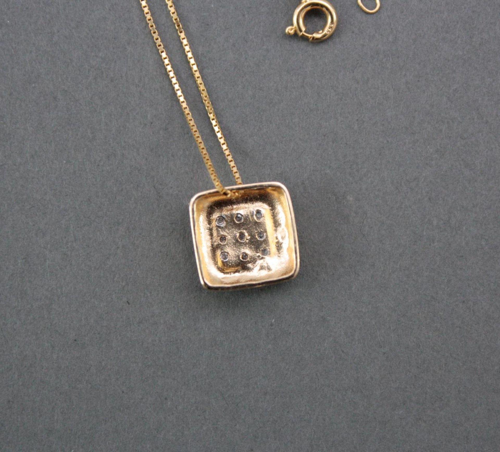 Halskette mit Diamantanhänger, 14 Karat Gelbgold - Bild 3 aus 3