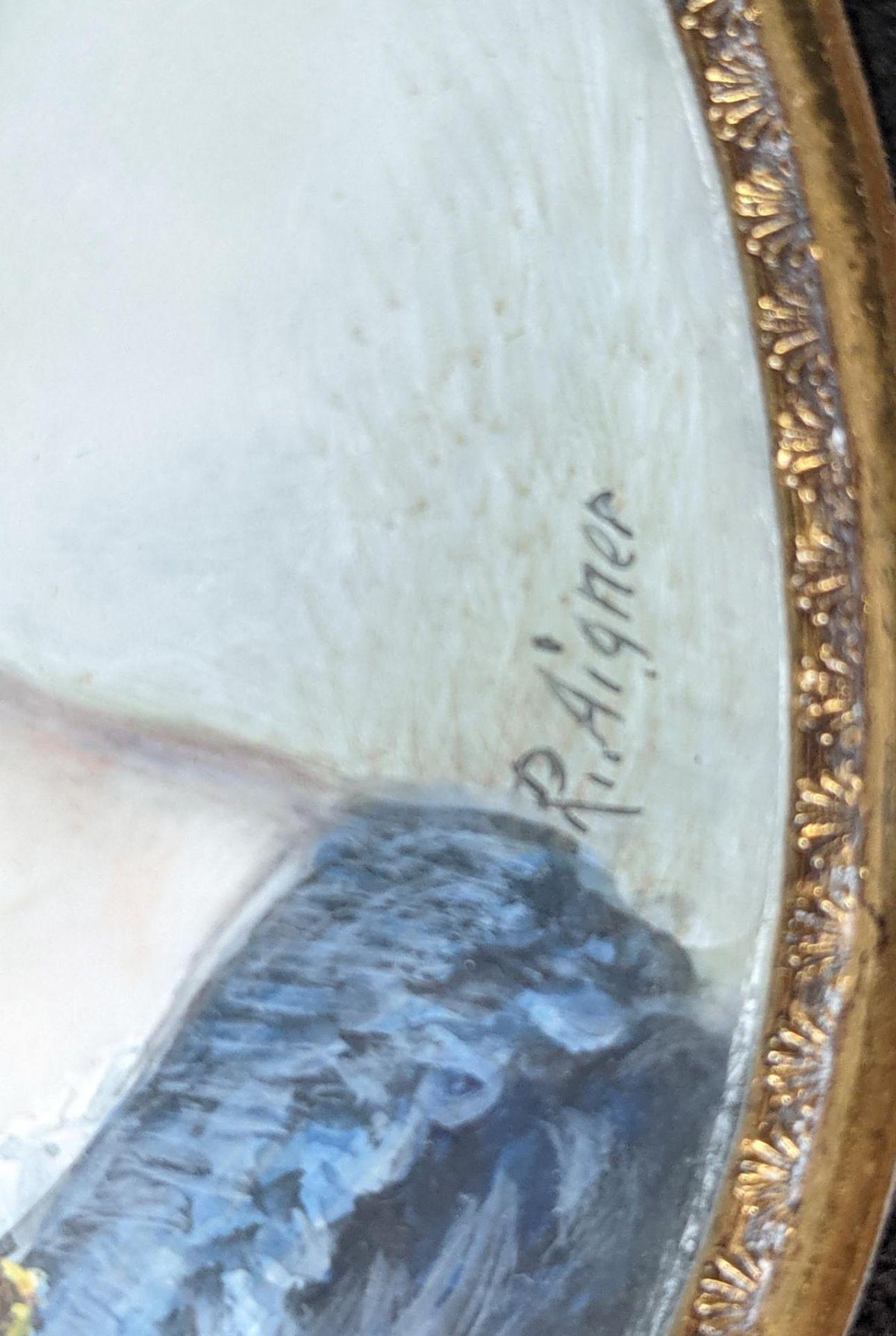 R. Aigner, Elfenbeinminiatur um 1900, Damenportrait - Image 3 of 4