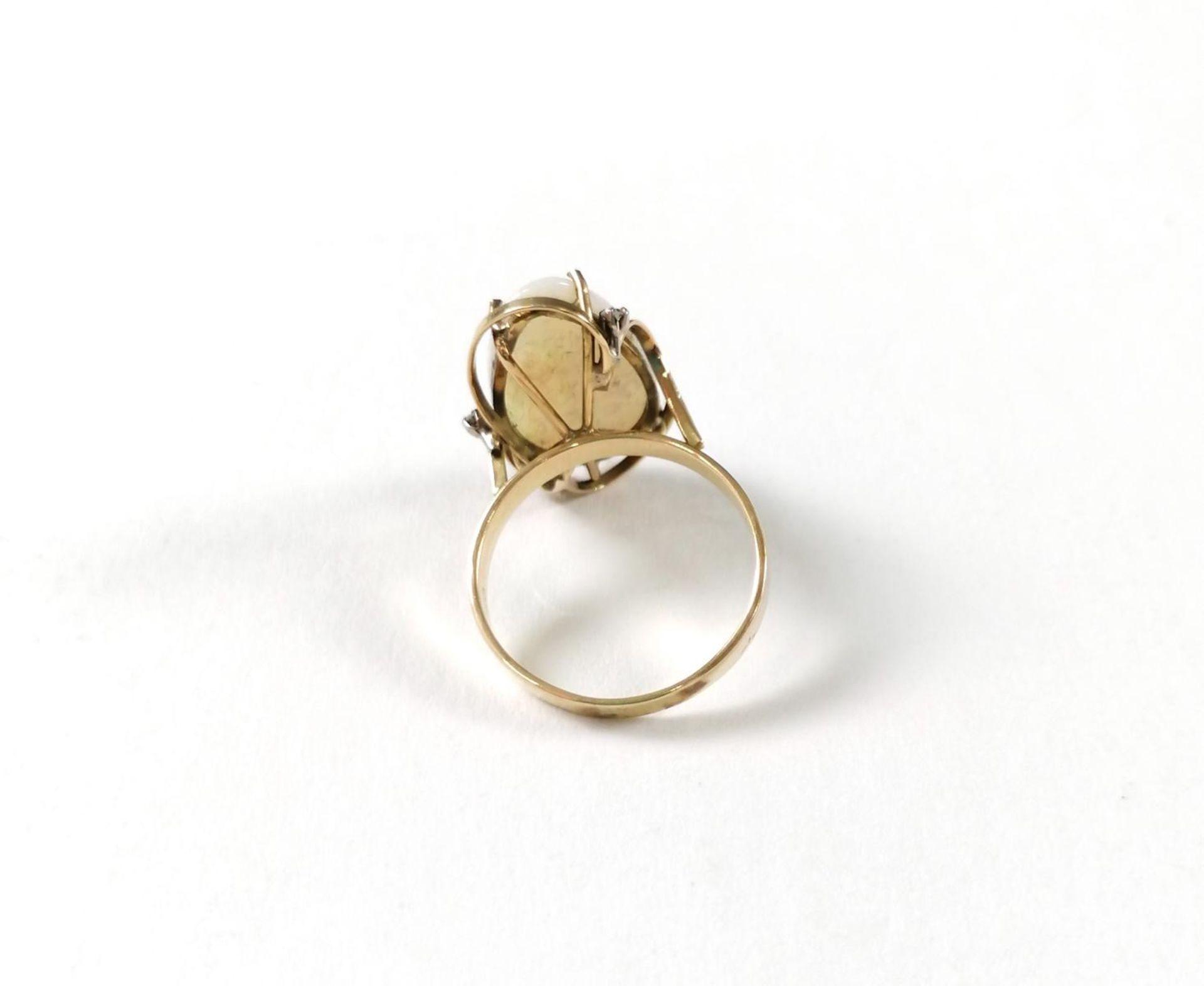 Gelbgold-Opalring mit Diamanten - Image 4 of 5