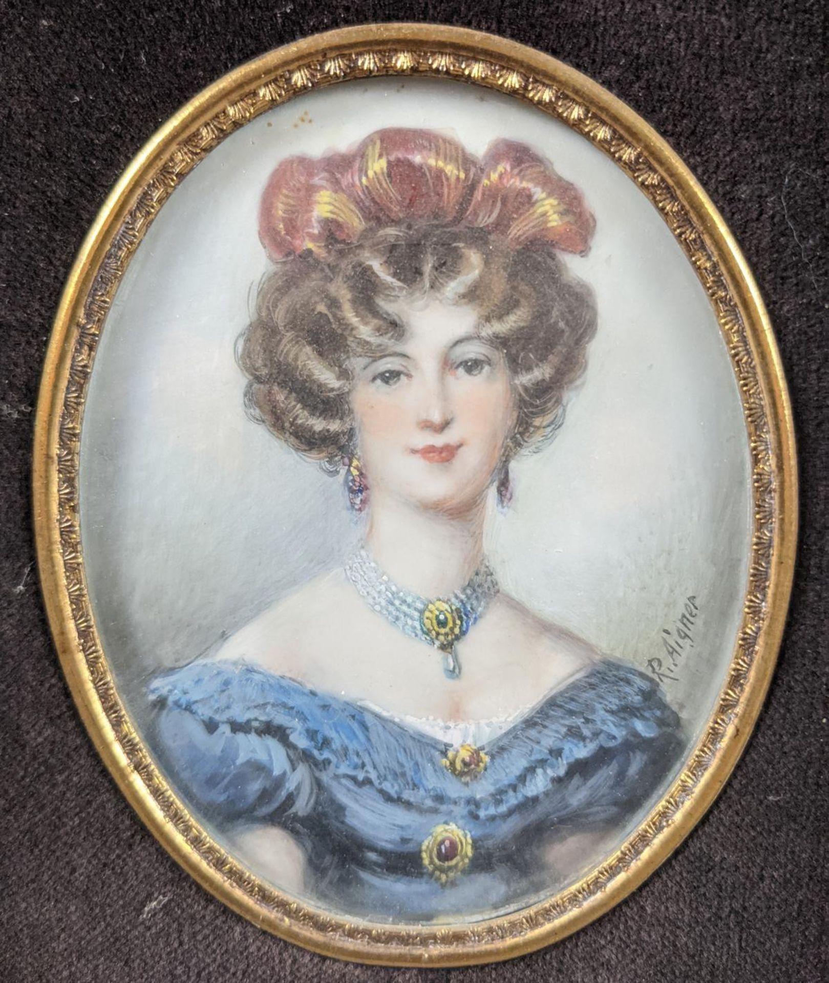 R. Aigner, Elfenbeinminiatur um 1900, Damenportrait - Image 2 of 4
