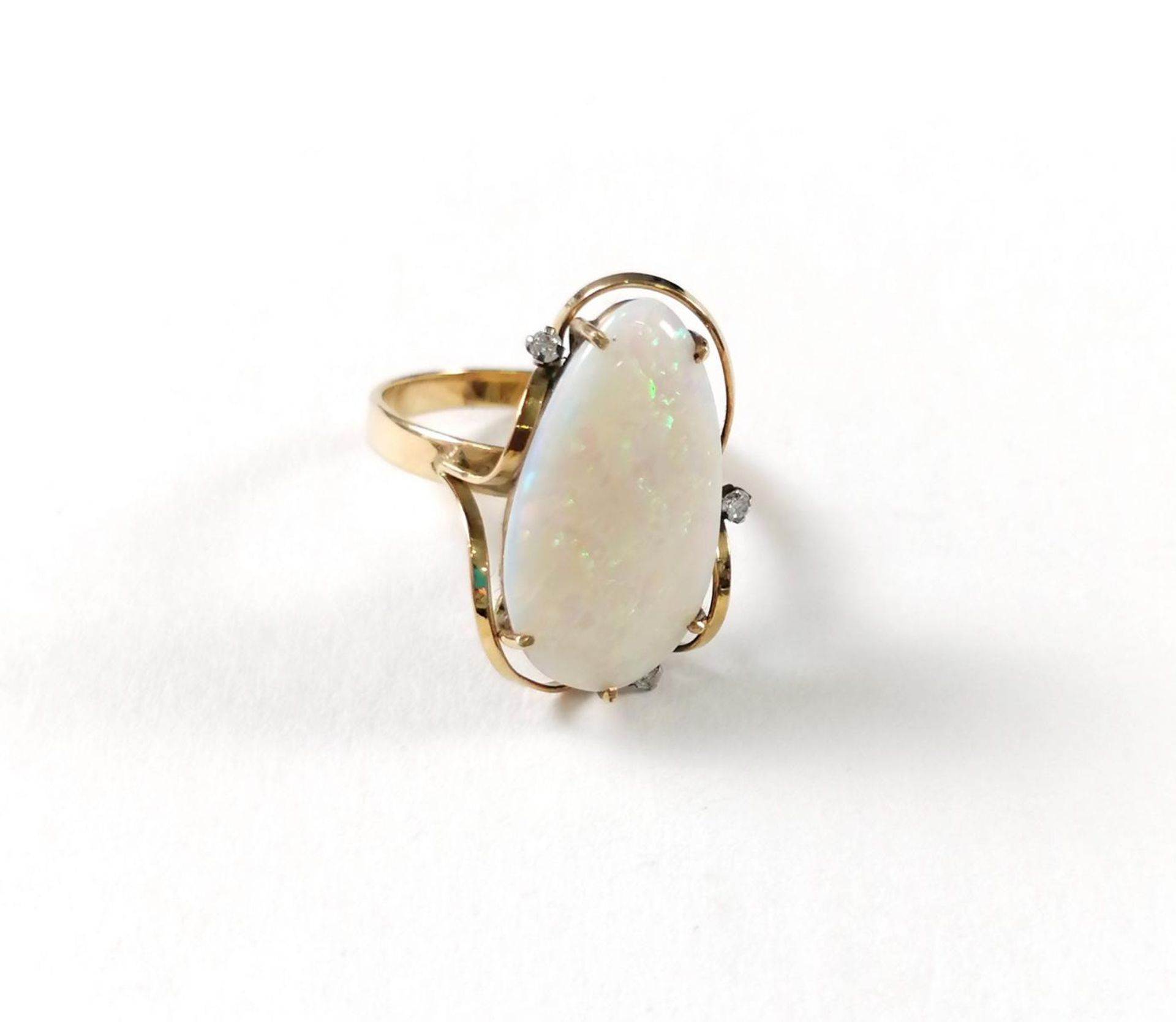 Gelbgold-Opalring mit Diamanten - Image 2 of 5