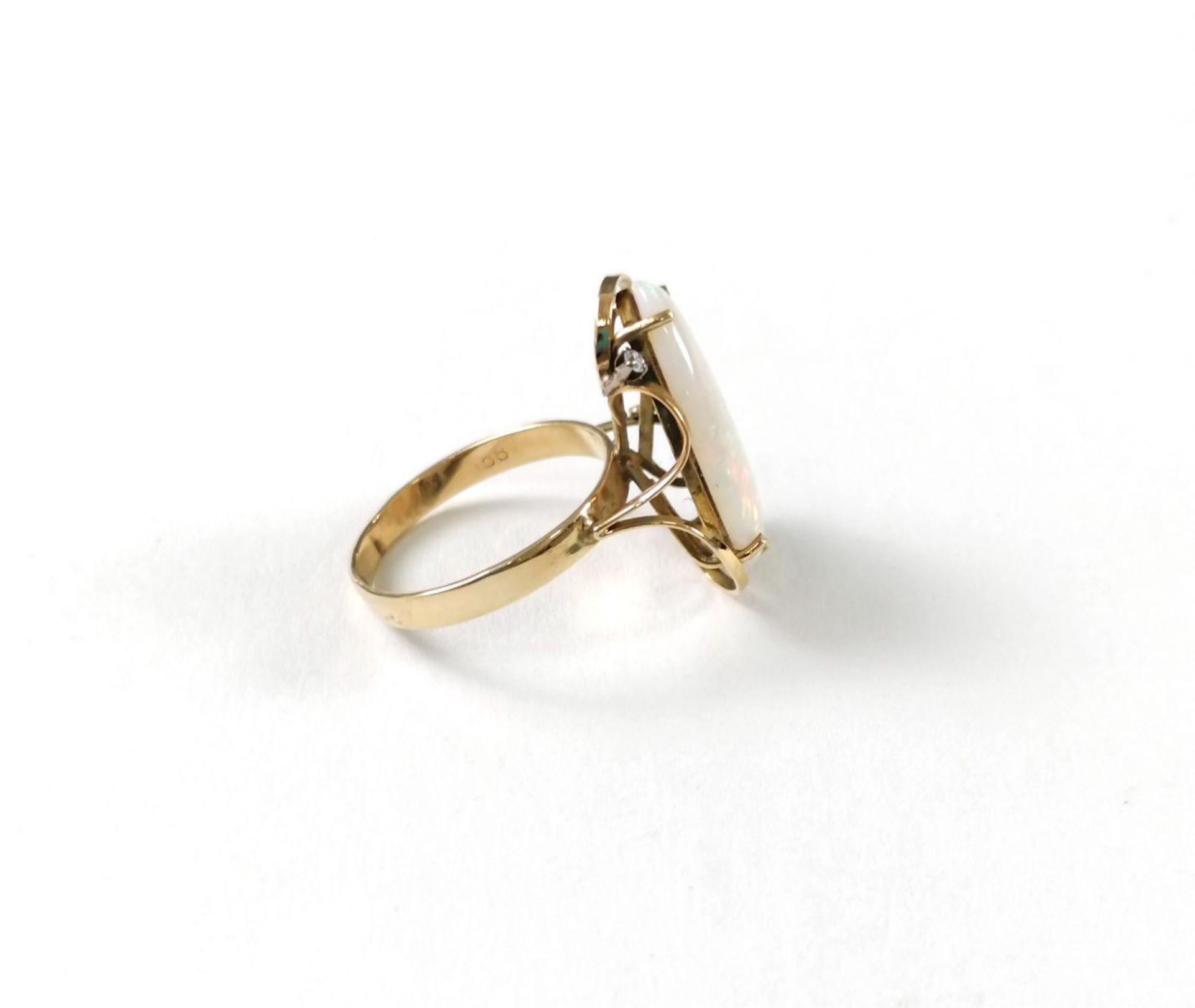 Gelbgold-Opalring mit Diamanten - Image 3 of 5