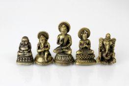 Indien 5 Bronzen um 1900