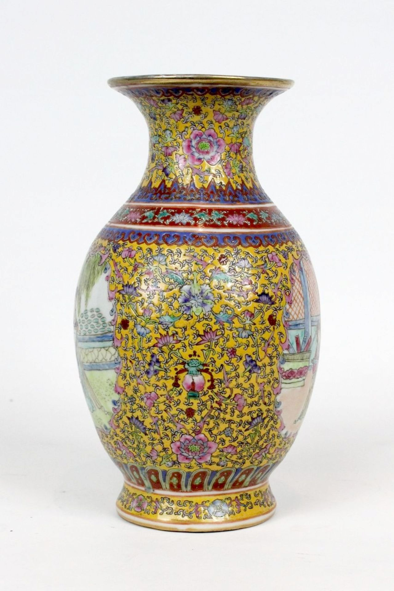 China Famille Jaune Millefleures Vase - Image 6 of 14