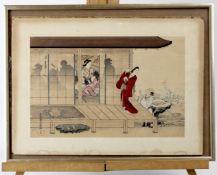 """Japanischer Farbholzschnitt signiert """" Das Geisha Haus """""""