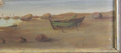 """Monogrammist A.H um 1850 """" Italienische Küstenlandschaft """""""