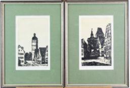2 Holzschnitte Dinkelsbühl und Rothenburg ob der Tauber