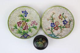China Zwei Cloisonne Teller und Deckeldose
