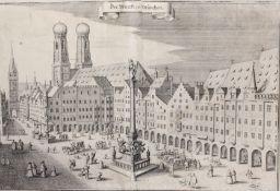 """Kupferstich """" Der Markt zu München """""""