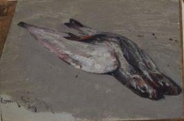 """Erwin Günter ( 1864 - 1927 ) """" Stillleben mit Fischen """""""