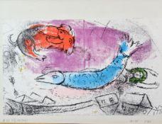 """Marc Chagall """" Der Blaue Fisch """" Farblithographie"""