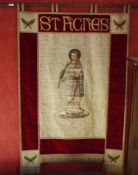 A 20th century wall banner, St Agnes, painted and printed and embroidered, 140cm high, 91cm wide