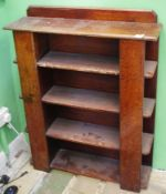 An Arts and Craft oak open book shelf, with open shelves to ends, 99cm high, 76cm wide, 21.5cm deep,