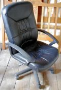 A contemporary swivel office chair