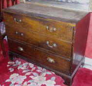 A 19th century oak chest, of three long drawers, bracket feet, 86m high, 108cm wide, 52cm deep, c.