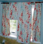 Curtains - a pair of cotton curtains, printed with abstract floral design, separate liners, approx