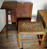 An early 20th century torchere; an early 20th century fire screen; a stool, tapestry top (3)
