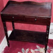 A 19th century mahogany side table, three quarter gallery, two drawers, tuned legs, shelf stretcher,