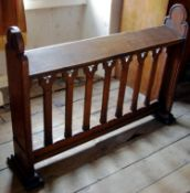 A 19th century Gothic oak prayer bench , shaped ends, 101cm high, 138cm wide, c.1880
