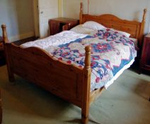 A contemporary pine double bed, 162cm wide