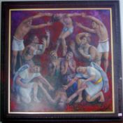 Richard Wallace (contemporary), Passion Play, signed, label to verso, oil on canvas, 91cm x 91cm