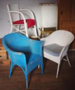 A Lloyd loom side table,; a similar linen basket; a rocker chair; two side chairs (5)